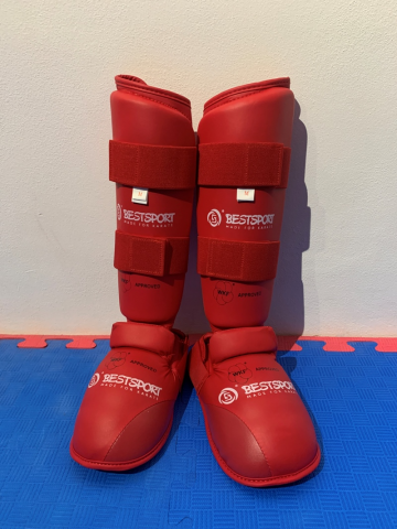 Фото Захист гомілка+стопа Best Sport red XS-L WKF Approved